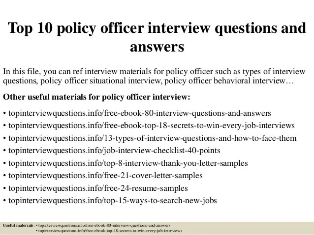 Top 10 policy officer interview questions and answers