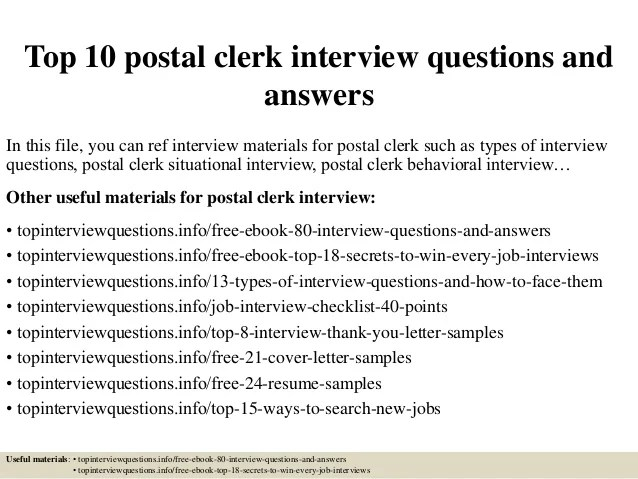 Top 10 postal clerk interview questions and answers