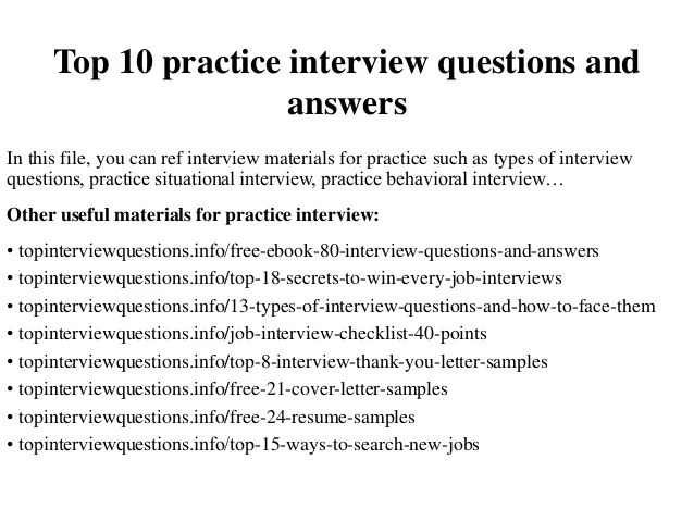 Top 10 Practice Interview Questions And Answers