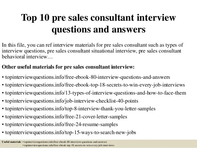Top 10 Pre Sales Consultant Interview Questions And Answers