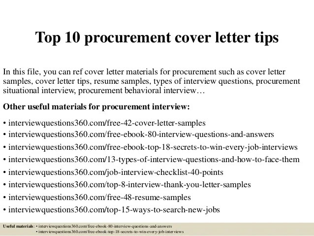 Top 10 Procurement Cover Letter Tips