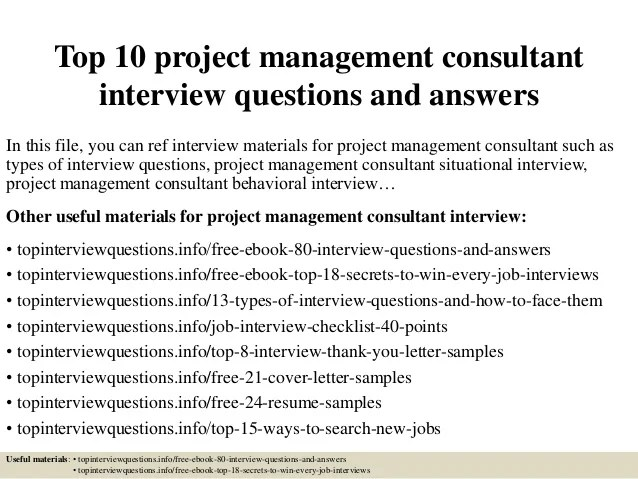Top 10 project management consultant interview questions