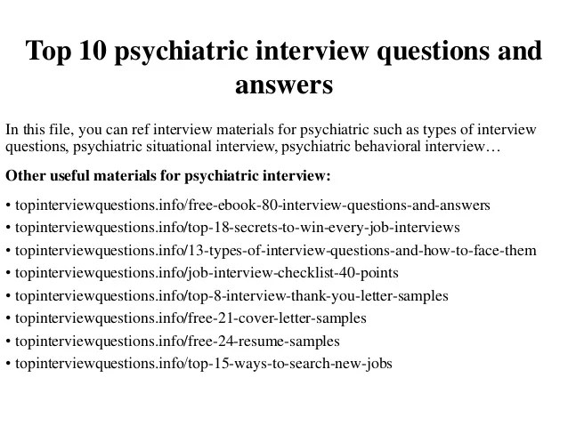 Top 10 Psychiatric Interview Questions And Answers