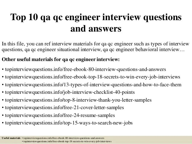 Top 10 Qa Qc Engineer Interview Questions And Answ