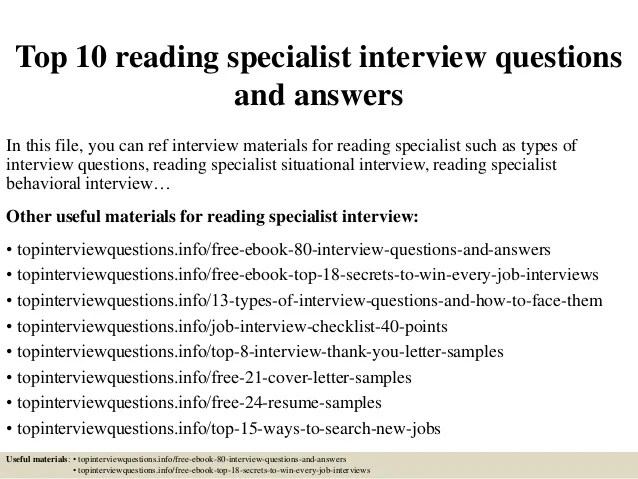 Top 10 Reading Specialist Interview Questions And Answers