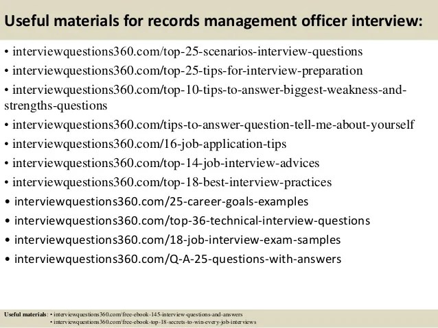 Top 10 Records Management Officer Interview Questions And Answers