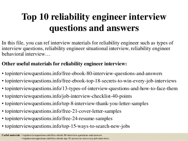 Top 10 reliability engineer interview questions and answers