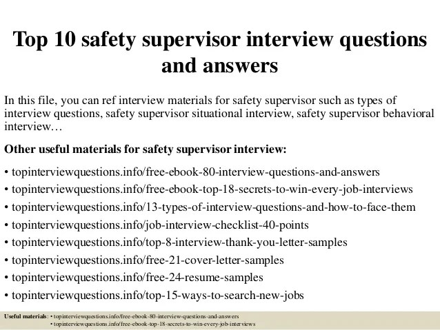 Top 10 Safety Supervisor Interview Questions And Answers