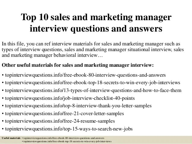 Top 10 Sales And Marketing Manager Interview Questions And