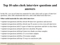 Top 10 sales clerk interview questions and answers