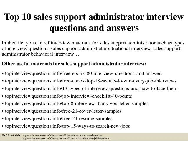 Top 10 sales support administrator interview questions and answers