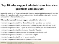 Top 10 sales support administrator interview questions and ...