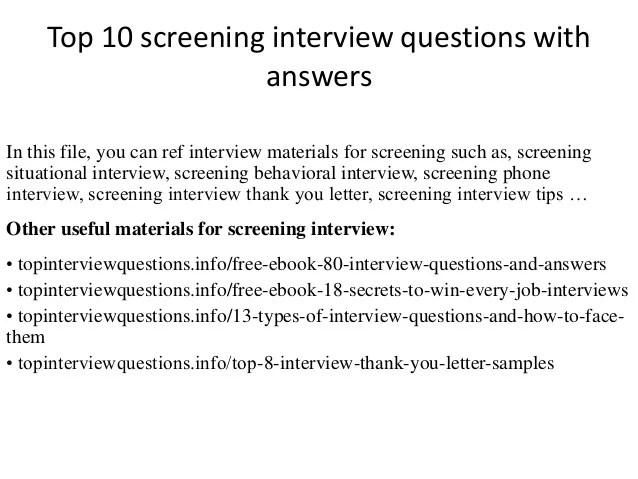 prescreen interview questions