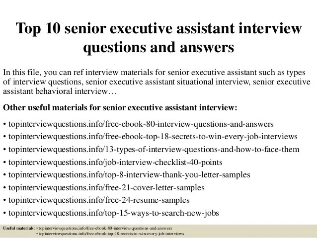 interview questions for executive administrative assistant