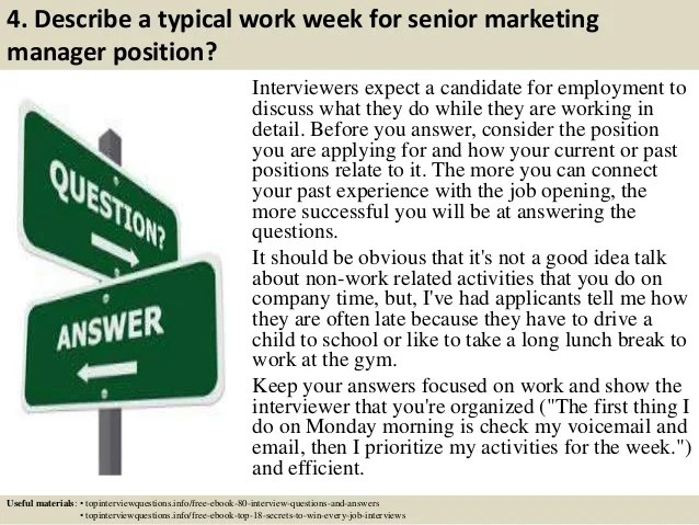 Top 10 senior marketing manager interview questions and answers