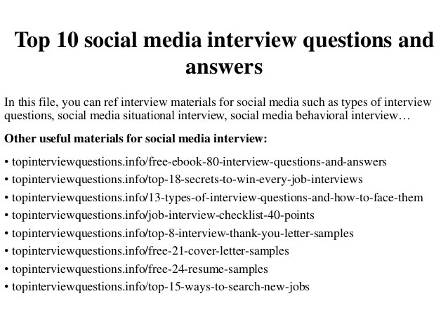 Top 10 Social Media Interview Questions And Answers