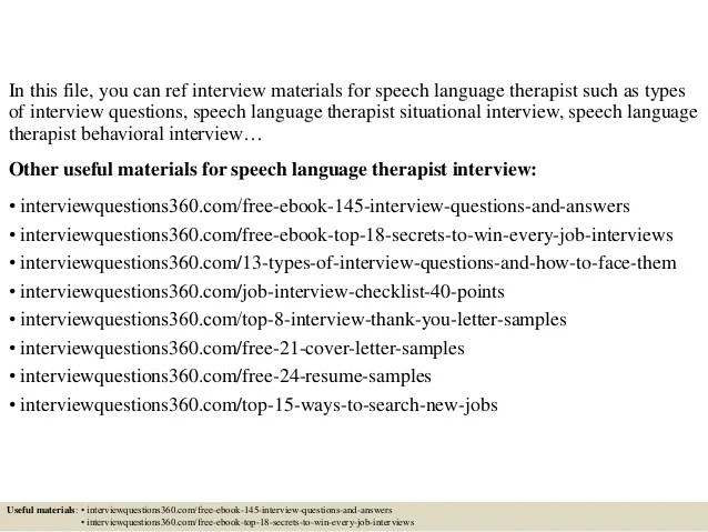 Top 10 Speech Language Therapist Interview Questions And