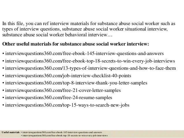 Top 10 substance abuse social worker interview questions and answers