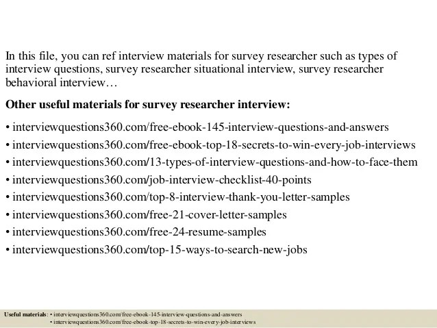 Top 10 survey researcher interview questions and answers