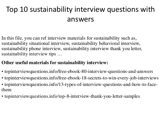 Top 10 Sustainability Interview Questions With Answers