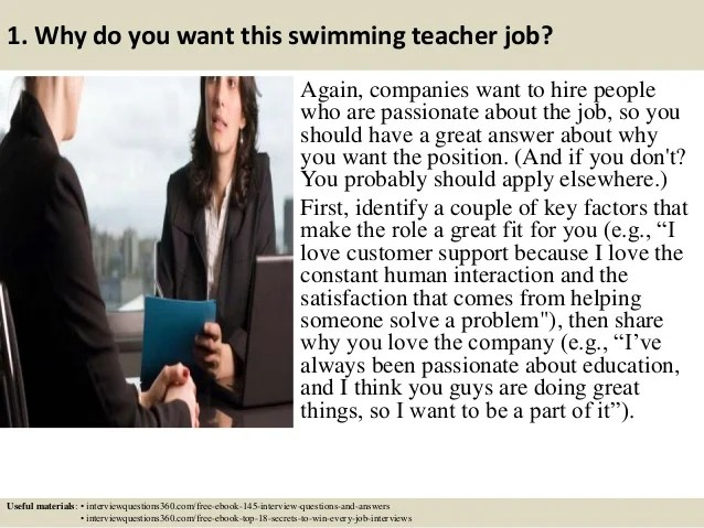 Top 10 swimming teacher interview questions and answers