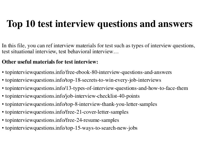 Top 10 Test Interview Questions And Answers