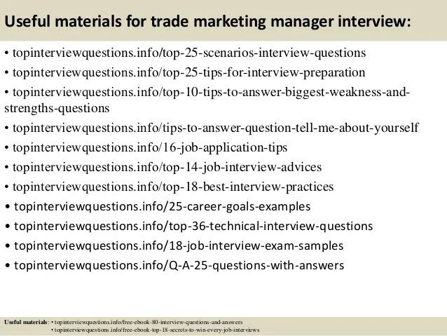 Top 10 trade marketing manager interview questions and answers