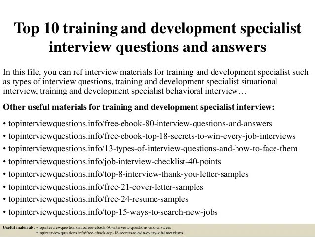 Top 10 training and development specialist interview