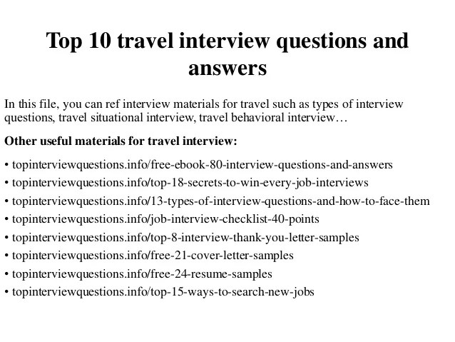 Top 10 travel interview questions and answers