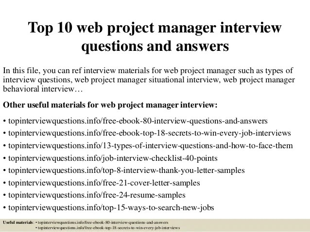 Top 10 web project manager interview questions and answers
