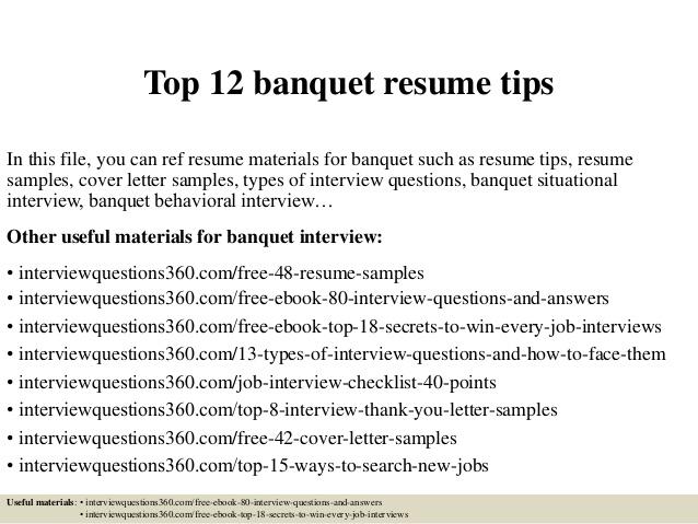 Top 12 banquet resume tips