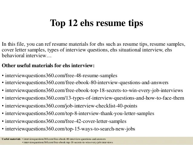 Top 12 Ehs Resume Tips