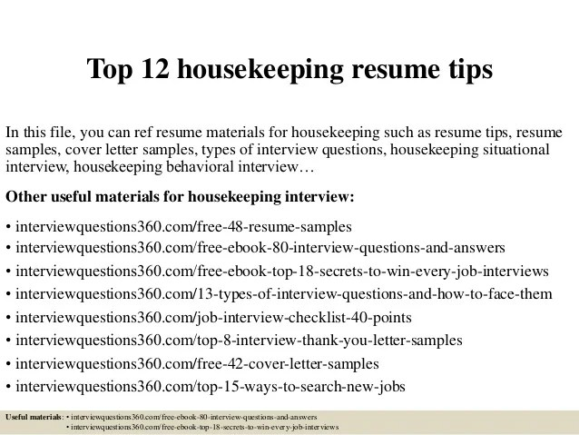 housekeeping resume profile sample