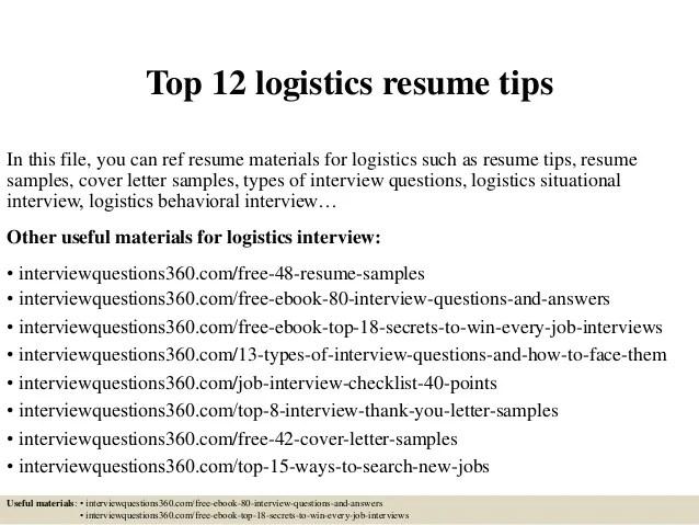 Top 12 Logistics Resume Tips