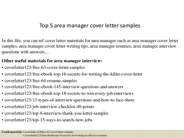 Top 5 area manager cover letter samples