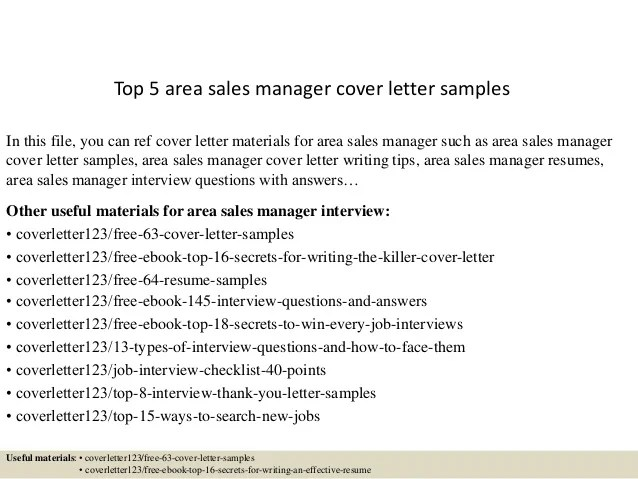 Top 5 area sales manager cover letter samples