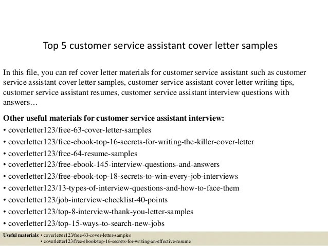 Top 5 customer service assistant cover letter samples