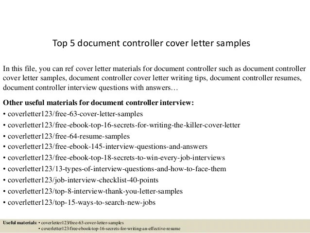 Cover Letter Document Control Assistant