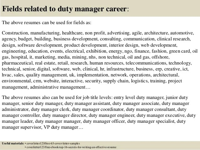 Top 5 duty manager cover letter samples