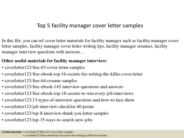 Top 5 facility manager cover letter samples