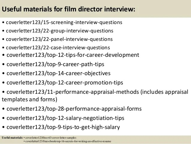 Top 5 Film Director Cover Letter Samples