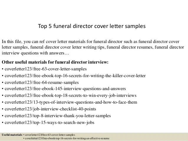 funeral director resume cover letter
