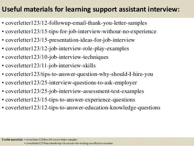 Top 5 Learning Support Assistant Cover Letter Samples