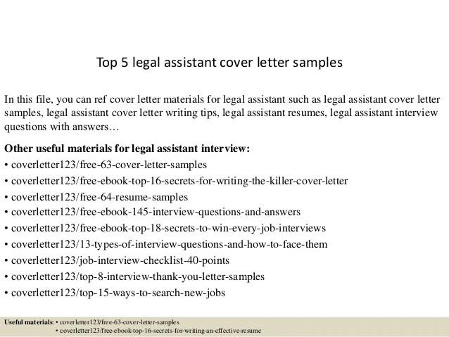 Top 5 legal assistant cover letter samples