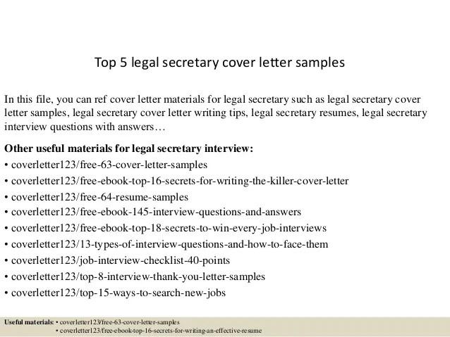 Top 5 legal secretary cover letter samples