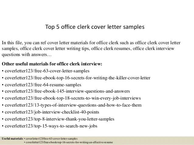 Top 5 office clerk cover letter samples
