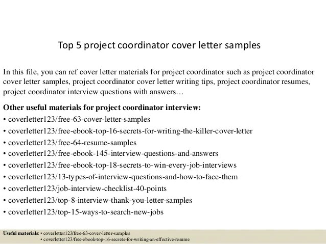 coordinator cover letter sample