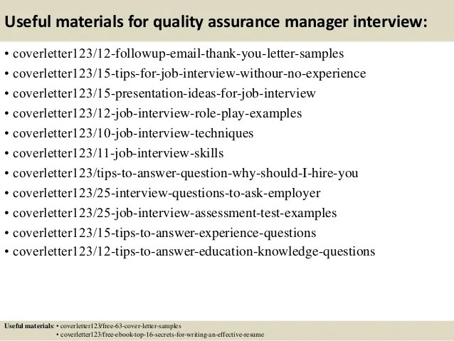 resume cover letter quality assurance