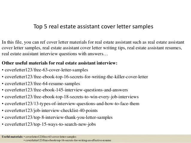 Top 5 real estate assistant cover letter samples