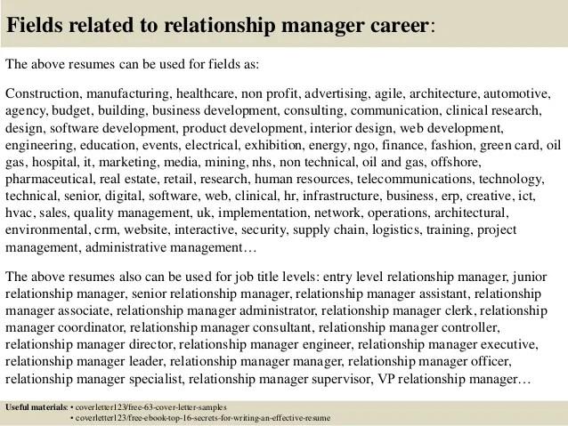 bank relationship manager resumes
